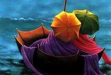 Claude Théberge / Claude Théberge (1934-2008) est un peintre canadien. Il a été connu principalement pour sa peinture, mais a aussi réalisé des murales, des vitraux et des sculptures qui investissent de nombreux lieux publics. Claude Théberge est surtout connu pour ses « parapluies ». De 1950 à 1954, Claude Théberge a étudié à l'École des Beaux-Arts de Québec. Il a également fréquenté les plus grandes institutions dédiées aux beaux-arts et aux arts décoratifs en France. / by Tomás Ribas I
