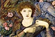 "Edward Burne-Jones / Sir Edward Coley Burne-Jones, (1833-1898) was a British artist and designer. Burne-Jones's early paintings show the heavy inspiration of Dante Gabriel Rossetti, but by the 1860s Burne-Jones was discovering his own artistic ""voice"". In 1877, he was persuaded to show eight oil paintings at the Grosvenor Gallery. These included The Beguiling of Merlin. The timing was right, and he was taken up as a herald and star of the new Aesthetic Movement. / by Tomás Ribas I"