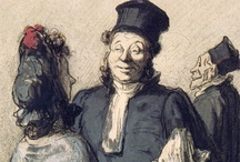 Honoré Daumier  / Honoré Daumier (February 26, 1808 – February 10, 1879) French printmaker, caricaturist, painter, and sculptor, whose many works offer commentary on social and political life in France in the 19th century. A prolific draftsman who produced over 500 paintings, 4000 lithographs, 1000 engravings, 1000 drawings, 100 sculptures was best known for his caricatures of political figures and satires on the behavior of his countrymen, although posthumously the value of his painting has also been recognized
