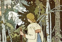 Ivan Bilibin / Ivan Yakovlevich Bilibin (1876 – 1942) was a Russian illustrator and stage designer who took part in the Mir iskusstva and contributed to the Ballets Russes. Throughout his career, he was inspired by Slavic folklore. Bilibin gained renown in 1899, when he released his illustrations of Russian fairy tales.