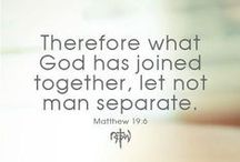 "Two Shall Become One / God's Divine Design is Marriage! ""Therefore what God has joined together, let not man separate."" Matt 19:6 / by Darla Jones"