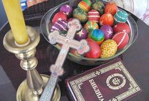 "ORTHODOX: EASTER/GREAT AND HOLY FEAST OF PASCHA-""Hristos Voskrese""(Christ is risen). ""Voistinu Voskrese"" (Indeed He is risen). / Eastern Orthodox Feast in the Christian Liturgical Year. Regarded as Christian equivalent of Passover/Easter. / by Juanita Shaffer"