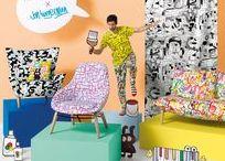 Jon Burgerman Collection - Doodle Art / Doodletaiteilija Jon Burgermanin piirustamat sisustuskankaat hullunhauskaan sisustamiseen.