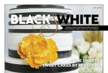 """Eye Candy: Black & White {The Sweets: Sweet Cakes by Rebecca} / From the """"EYE CANDY: BLACK & WHITE"""" feature in the Winter/Spring 2014 issue of Real Weddings Magazine! Photography by www.StudioTHP.com © Real Weddings Magazine; Design/Styling: www.KateMillerEvents.com; Sweets: www.SweetCakes.biz; Flowers: www.FlourishDesigns.com -- for a full list of vendors in this editorial story, visit: http://www.realweddingsmag.com/eye-candy-black-white-the-sweets-from-sweet-cakes-by-rebecca/"""
