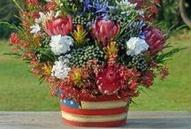 4th of July Floral Arrangements / Starting to get pumped for the holiday.  Inspirational red, white and blue Patriotic 4th of July Arrangements.