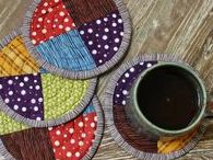 Stitch ✄ Mug Rugs Cosies and Potholders / Mug Rugs, Mug and Teapot Cosies, Café Press Wraps, Pot Holders ~~~ a Very Useful and Pretty Way to Use up Scraps of Fabric and Yarn