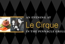 """Le Cirque on Holland America Lines / Holland America presents """"An Evening at Le Cirque in in the Pinnacle Grill"""" aboard its fleet of 15 ships. On virtually every voyage, this fine dining restaurant will be transformed for at least one night into a Le Cirque–like atmosphere. On those special evenings, menu offerings, wine selections, table decorations and the restaurant setting will be tailored to create an authentic Le Cirque dining experience that is sure to impress both the eyes and palates of Holland America Line guests...."""