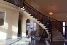Powder Coat Stair Railings / Application photos of our powder coated wrought iron balusters, adding a classic touch to any staircase.