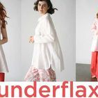 Under Flax / We offer five lovely solid color: Bluebell, British Khaki, Milk, Nine Iron, and tomato, as well as a whimsical Tomato Bandana and sophisticated yarn dye called Endless Stripe. All seven fabrics coordinate and are available in each versatile style of this collection of street-wear that doubles as super-soft nightwear.
