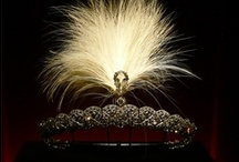Tiara Variant - Aigrettes / From the French for egret, or lesser white heron: the tufted crest, or head-plumes of the egret, used for adorning a woman's head-dress. The term is also given to any similar ornament in gems.  Here the aigrette is fastened to a tiara frame