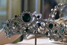 "Tiara - D'Angouleme Emeralds / The tiara of Marie~Therese (Duchesse d'Angouleme) the only living child of Marie~Antoinette & Louis XVI. It is a beautiful Emerald and diamond tiara in a symmetrical design of scrolling foliage, mounted with over a thousand diamonds set in silver, and 40 emeralds set in gold. Designed by Jacques-Evrard Bapst for the Duchesse , early 19th century. In the Musée du Louvre: ""Under the 2nd Empire, the tiara was worn by the Empress Eugenie, who was particularly fond of emeralds."""