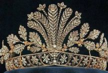 Tiara - Cut Steel (Sweden) / A tiara of highly polished cut-steel set with gold in the designs of oak leaves, acorns, flowers and feathers. Queen Josephine may have brought it to Sweden, where it languished for many years until rediscovered by Queen Silvia. For a period of time cut-steel was a cheap alternative for women who wished to be stylish but could not afford the real thing during the time of the first French empire on to the Victorian era.