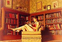 My Fantasy Library-LR-Dining Room / Yes, I want to live in a mega-comfortable lounge-y library with a lovely, intimate dining space for delicious meals and clever conversation...  / by Wanda Swain Bland