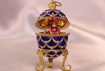 House of #FABERGE / The House of Faberge was most famous for its delicate & elaborately bejeweled eggs. (1885-1917). Smaller eggs were worn as pendants; the larger ones were made for the Imperial family in Russia; 42 of the original 50 of these have survived today. The eggs are made of precious metals or hard stones decorated with combinations of enamel & gem stones. The #Fabergé egg is a symbol of luxury. The eggs are regarded as masterpieces of the jeweler's art.  / by Pattee Fletcher