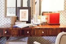 Workspaces / workspaces, office, eclectic workspaces, eclectic offices, colorful workspaces, vibrant office space, home offices, home workspace, wood desk, office inspiration, home office ideas