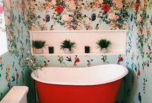 Wallcovering / Wallpaper, wallcoverings, fabric wallpaper, floral wallpaper, moody wallpaper, geometric wallpaper, stenciled walls
