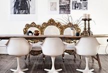 Dining / dining room, eclectic dining rooms, vintage eclectic dining rooms, colorful dining rooms, how to style a dining room, chic dining rooms, dining tables, farmhouse tables, mix and match dining sets, dining room inspiration