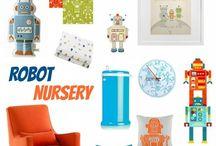 Baby: Nursery inspirations / Modern, happy, minimal, color block, clean lines, white, black, orange, aqua, blue, robots, science, startrek / by Kellijean Press