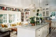 "Bookshelves: Kitchen & Dining Room / This is for home libraries found in a kitchen or dining room setting.  See also ""Bookshelves: Bedroom & Bath,"" ""Bookshelves: Hallways, Stairways, and Landings,"" and ""Bookshelves & Home Libraries."" / by Suzi Holler"