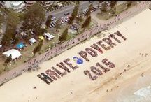 """Halve Poverty / Thousands of advocates from the Warringah electorate and the Movement to End Poverty formed the iconic message """"Halve Poverty by 2015"""" across Manly Beach. The message communicated to our nation's leaders, especially to Member for Warringah Tony Abbott, that Australians want to do their fair share to see global poverty halved by 2015 and the Millennium Development Goals achieved."""