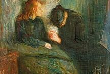 Edvard Munch / This board will only be for those of his works that matter most to me. Edvard Munch is one of my absolute favorite artists. No one is able to express anxiety as well and scaring as him, and I feel very much understood by him.