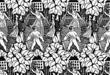 CALYPSO / Tatoo brodés / Tatoo et broderies, type reconstitution d'une scène de toile de Jouy.  Petits motifs fait main, très colorés, all over, motifs placés façon tatouage seconde peau.   Moodboard des techniques et rendus textiles