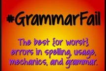 "Grammar Errors / Well, this board isn't JUST grammar errors...mechanics, spelling, usage...and even bad taste are included. And definitely ""lost in translation."" Use these examples to bring a little humor into your grammar lessons. Also includes great links to teaching tools and additional visuals for teaching grammar/mechanics, etc.. #GrammarFail"