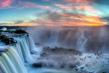 Waterfalls / A waterfall is a place where water flows over a vertical drop in the course of a stream or river. Waterfalls also occur where meltwater drops over the edge of a tabular iceberg or ice shelf. / by Catherine Manoli