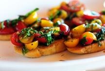 - Bruschetta & Crostini - / - Summertime favorite: Tomato bruschetta with onion, garlic, and balsamic. -