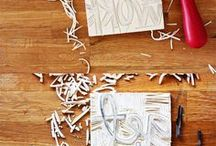 Papery ideas:  handcarved stamps / Handcarved stamp inspiration for stamping on handmade paper. Ideas for carving your own handmade stamps. www.woodendeckle.com