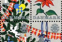 Danish Christmas Stamps & Seals / Charity stamps to support children's causes, as well as real postage from the Danish post office.