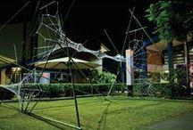 Web installation 2011 / Bamboo work by Peter Wojciechowski, web knitting by Jude Skeers. St Peters, Brisbane 2011