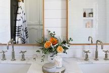 Bathroom / Bohemian bathroom decor featuring to-die-for claw foot bathtubs, gold sink faucets, shower curtains and more.