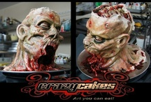 Cakes of Horror, fantasy and sci-fi / Cakes with themes based on movies, characters, fictional creatures etc, withing the horror, fantasy and sci-fi genres. Zombies, vampires, skulls, Dracula, Halloween, monsters, blood, Star Wars, R2D2, Yoda, Darth Vader