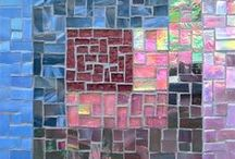 Margaret Almon Patchwork Art / Art mosaics from Margaret Almon of Nutmeg Designs.  A topography of patchwork attracts the light.  Glass scraps bring texture and color and sparkle.