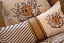 Grain Sack Pillows / A collection of vintage, French-style grain sack pillows.