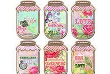 Mason Jar Cards, Tags, Etc. / Tags or graphics with mason jars on them.