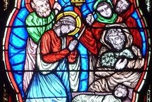 christmas / christmas in stained glass windows
