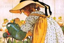 """Artist: Jessie Wilcox Smith / Esteemed American illustrator Jessie Willcox Smith, best known for her illustrations of idealized children, painted the covers for Good Housekeeping magazine for 15 years, In 1910 she illustrated """"A Child's Book of Old Verses"""". / by Sherrie Shaffer"""