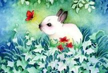 Art & Illustration: Bunnies~Ducks / Any picture, illustration, clip art, painting, etc. with bunnies/ducklings/chicks. / by Sherrie Shaffer