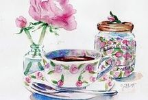 Art & Illustration: Food~Kitchen / Prints, pictures, art, anything cute or pretty pertaining to kitchens and food. / by Sherrie Shaffer
