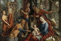 Adoration of the Magi / The adoration of the child Jesus by the Magi has been a famous motif in Christian art for centuries. According to the bible the three Magi found Jesus by following a star and lay before him gifts of gold, frankincense, and myrrh.