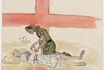 """Joke Broekema / On this board we highlight drawings by Joke Broekema (1926-2012) out of her album entitled """"In the past and present"""" created between 1942 and 1945, in the camp Brastagih."""