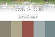 Outdoor Adventure, Nova Scotia Vacation / These paint colors are inspired by an Outdoor Adventure & a part of the PPG Voice of Color Regional Collection, Nova Scotia! The greens of these Canadian islands symbolize the natural world & represent health & peace, while providing comfort. Use yellowish greens to create a space that is warm & inviting, much like the province's capital, Halifax. See the full paint color palette at: http://www.ppgvoiceofcolor.com/collections/regional-collections/nova-scotia  #colorinspiration #paintcolor  / by PPG Voice of Color