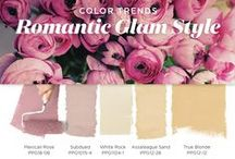 Romantic Glam Paint Color Palette / Romantic Glam Style brings out your tender side. This look is for the love-soaked soul that puts a high value on quality time at home. Softly faded floral tones evoke a sense of love, reflection. and sweetness. This palette features pink hues paired with pale sand and beige colors for a pretty and glam look. / by PPG Voice of Color
