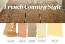 French Country Color Palette / You don't need a getaway in Provence to feel that quaint French Country cottage charm. Bring the French countryside to you with these cottage inspired hues recreating the sense of relaxed tranquility of rural life abroad. To achieve a French Country style create harmonies of faded neutrals that have a vintage, worn with the time spirit, such as parchment white, an antiqued gold, or a sandy beige. This French Country color palette is full of hues from our On the Sunny Side harmony collection.