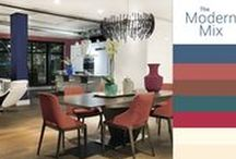 The Modern Mix Color Palette / The Modern Mix Designer Color Palette features terracotta-inspired reds and muted water hue which serve as a contemporary accents to environments These paint colors suggest an artisan spirit and a subtle retro undertone. This modern mix of colors are dynamic without being too vibrant.