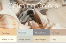 Calming Colors Paint Color Palette / The Calming Palette is a relaxing, neutral set of  harmonizing paint colors. These light hues offer peaceful and restful colorways. Redefine neutrality with these saturated neutrals. This palette features seashell inspired and natural colors including a charcoal gray, sandy beige and sunny yellow.