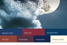 Elegant Darks Color Palette / The Elegant Darks Color Palette features rich and saturated royal hues. Together these deep red and purple based hues are harmonized, creating an exotic and eclectic feel. Elegant blues and purples create a tranquil and mysterious energy.