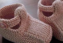 knit: baby booties, socks, mitts